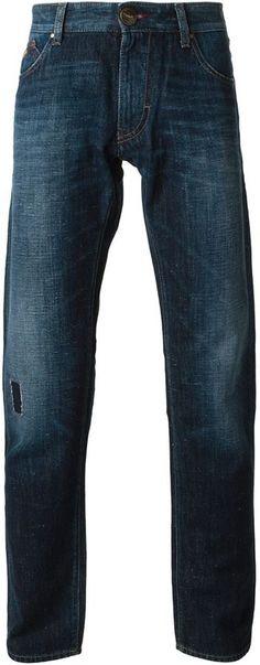 Armani Jeans stone washed straight leg jeans on shopstyle.co.uk