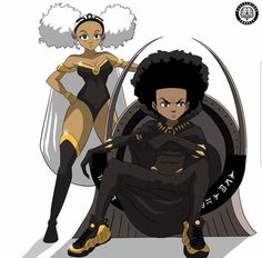 African american love art boondocks x black panther wall . Dope Cartoon Art, Dope Cartoons, Black Girl Art, Black Women Art, Black Girls, Black Cartoon Characters, Cartoon Edits, Dope Kunst, Black Comics