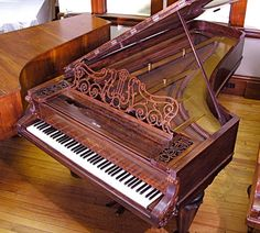 Chickering, 1862, Boston. In 1840, Jonas Chickering patented his design for the first full cast iron frame to withstand the tension of the strings of a grand piano. Variants of this pattern were eventually adopted by piano manufacturers everywhere; all modern grand pianos are reinforced by cast frames. The decoration of the 1862 Chickering piano in the Frederick Collection, an eight-foot five-inch concert grand with a single-piece cast frame, is comparatively modest – although not so austere…