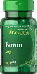 Boron 3 mg <p>Boron is needed in trace amounts for healthy bones and for the metabolism of calcium, phosphorus, and magnesium.**  Available in 100% Natural Chelated (3 mg) tablets.</p> 100 Tablets 3 mg $6.29