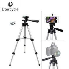 Etercycle 260-590mm Portable Camera Tripod Aluminum alloy with CellPhone Holder Clip for Canon Nikon Sony DSLR Camera phones