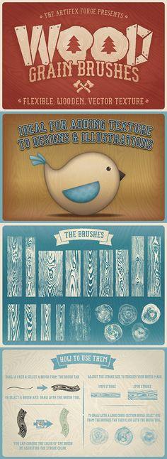 Wood Grain Brushes #design #illustrator  Download: http://graphicriver.net/item/wood-grain-brushes/12437541?ref=ksioks