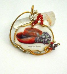 Red Hat Pendant Wire Wrapped Cameo by AussenWolfDesigns on Etsy