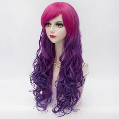 Charming Inclined Bang Rose to Purple Ombre Long Synthetic Lolita Cosplay Fluffy Wavy Capless Women's Wig (OMBRE 1211#) in Cosplay Wigs | DressLily.com