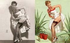 Before Photoshop... 1950's Pin-up drawings were made from photos of real woman that they STILL augmented!!
