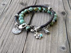 African Turquoise Leather Sterling Silver Bird by DeetabyDesign, $110.00
