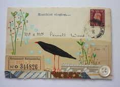Original artwork on a 1930's British envelope by hensteeth on Etsy, $46.00