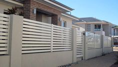 Creative Lightweight Solution Rendered Walling, Fencing | Townhouse Projects Adelaide House Fence Design, Fence Gate Design, Privacy Fence Designs, Modern Wood Fence, Modern Fence Design, Main Entrance Door Design, Modern Entrance, Brick Fence, Front Yard Fence