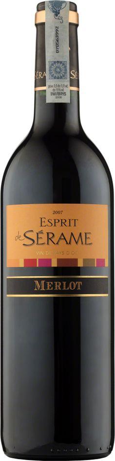 Esprit de Serame Merlot Vin de Pays d'Oc Intensywny kolor, wyczuwalne nuty dojrzałych czerwonych owoców, a w szczególności śliwki. Dobrze wyrównane w smaku, łagodne i przyjemne w odbiorze. #Winezja #Langwedocja #Merlot #Wino Saint Chinian, Wine, Drinks, Bottle, Beverages, Flask, Drink, Jars, Beverage