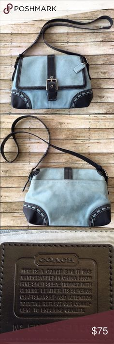"Coach Cross-body/Shoulder Bag Coach No E0767-F11205. Authentic. Rare. Soft Blue Suede w/ black navy blue leather trim. Cross-body/Shoulder Bag. Strap is convertible from shoulder to cross-body. Flap has magnetic closure. Inside has one zippered pocket & two slip pockets. Interior fabric has no stains, rips, or tears. Exterior suede shows some slight discoloration. Good Used Condition. Approx. Measurements: 11""(L)x8""(H)x4""(W). Coach Bags Crossbody Bags"