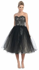 #6005Star Black Homecoming Dress Prom Poofy Gown Tea Length Strapless