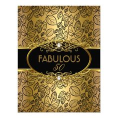 Fabulous 50 50th Birthday Party Gold Damask Invitation invitations Birthday invitations by zizzago.com