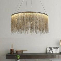 Modern simple LED iron chain waterfall tassel chandelier can be Customized Chandelier Chain, Modern Chandelier, Chandelier Lighting, Gold Chandelier, Ceiling Fixtures, Ceiling Lights, Iron Chandeliers, Dining Room Lighting, Home Decor Bedroom