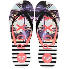 Roxy Tahiti Multi Print Flop Flops ($23) found on Polyvore featuring shoes, sandals, flip flops, sapatos, roxy footwear, flip flop shoes, roxy flip flops, toe thong sandals and toe thongs
