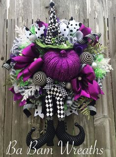 Deluxe Halloween Wreath, Witch Wreath, Halloween Swag, Fall Wreath, Halloween Door, Witch Decor by BaBamWreaths on Etsy https://www.etsy.com/listing/400996065/deluxe-halloween-wreath-witch-wreath