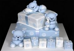 45 ideas for baby boy baptism cake awesome Baby Shower Cakes For Boys, Baby Boy Cakes, Baby Boy Shower, Baby Boy Christening Cake, Baby Boy Baptism, Gateau Baby Shower Garcon, Teddy Bear Cakes, Teddy Bears, Birthday Cakes