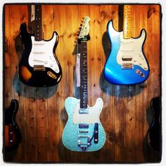 Fender Custom Telecaster and Strats on the wall - Galaxy S2, Instagram