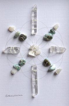 RESTORE RESTFUL SLEEP --- framed sacred crystal grid --- larimar, clear quartz, moonstone --- seed of life
