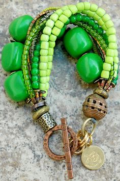 Green and Copper Multi-Strand Bracelet