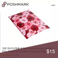 Brand new 10 pcs 10 x 13 red roses poly mailers Brand new 10 pcs very pretty design red roses poly mailers . For shipping. Women's Ladies Fashion. Check out my closet, we have a variety of women's, Victoria Secret, handbags 👜 purse 👛 Aerosoles, shoes 👠fashion jewelry, necklace, clothing, dress, Beauty, home 🏡 .  Ships via USPS. Smoke & Pet-Free. Offers 30% OFF bundle discount. Always a FREE GIFT 🎁 with every purchase!!! Thank you. Other