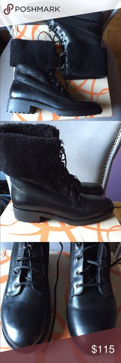 NEW Via Spiga shearling Boots size 8.5 NEW Via Spiga black shearling leather boots. Great winter and fashion boot. I hate to part with them but they're a bit too small for me (best fits 8 or 8.5). Never worn only tried on. Stylish combat boots marked 8.5 Via Spiga Shoes Combat & Moto Boots