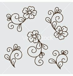 Immagini, foto stock e grafica vettoriale simili a tema Beautiful lilies and abstract flowers - 182664719 Border Embroidery Designs, Hand Embroidery Patterns, Embroidery Art, Flower Pattern Drawing, Flower Patterns, Flower Designs, Easy Flower Drawings, Mini Drawings, Broderie Simple
