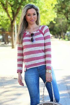 look do dia, ootd, look of the day, spring trends, stripes print, padrão de riscas, fúchsia, magenta, rosa, tendências primavera verão 2014,...