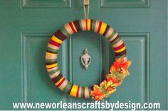Fall Multi Colored Yarn Wreath