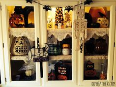 Decorate your China cabinet for Halloween!!
