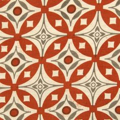 Elmas Fabric A red and grey hand screen printed cotton fabric suitable for curtains and domestic upholstery.