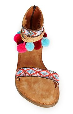 Z & L Embroidered Ankle Wrap Sandals in Multi-colored | DAILYLOOK