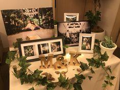 #ウェルカムスペース はとてもおしゃれに飾ってくださいました❤️👍 ・ 満足しました✨ ・ そして、私たちの写真だけではなく、思い出の写真たちも、飾って、ゲストに楽しんでもらえてたらいいなっと思っています🙏🙇♀️ ・ ・ #ちーむ0805 #tgoo花嫁組 #thegardenorientalosaka Wedding Photo Table, Wedding Table Flowers, Diy Wedding Decorations, Reception Decorations, Wedding Registration Table, Wedding Welcome Board, 30th Anniversary Parties, Love Of A Lifetime, Renewal Wedding