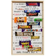 Treat your Dad to an unusual gift this Father's Day with our Father's Day Chocolate Poem. The gift consists of 14 individual wrapped chocolate bars and sweets arranged in poem form Birthday Poems, Birthday Card Sayings, Dad Birthday Card, Birthday Candy, Birthday Cards For Men, Birthday Gifts, Diy Birthday, Happy Birthday, Birthday Recipes