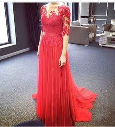 A line Long Sleeves Red Lace Prom Dress,Sexy Illusion Lace Red Evening Dress