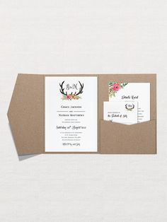 Floral Antler Wedding Invitation is the perfect way to combine stag antlers into your wedding day in a romantic and feminine way. The invitation is available in three trim options and two paper colours.   - - - - - - - - - - - - - - - - - - - - - - - - - - THE INVITATION SUITE INCLUDES:  ○ Invitation – 5″x7″ – 127x178mm – 250g/m² ○ Invitation Envelope – 5″x7″ – 133x184mm – 120g/m² ○ RSVP / Reply Cards – 90x125mm ○ RSVP / Reply Cards Envelope – 95x130mm – 120g/m² ○ Details / Reception Card –…