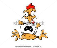 Plucked cartoon chicken. Vector clip art illustration.Vector Design EPS 10
