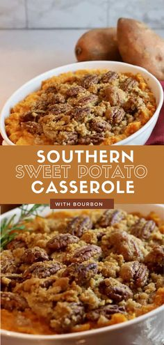 Southern Sweet Potato Casserole with Bourbon and Pecans is a rich combination of flavors and textures that is sure to draw rave reviews from everyone. As a lighter version of the classic recipe for sweet potato casserole with pecans most folks expect to see on Thanksgiving it is a classic crowd pleaser that makes you feel good. Sweet Potato Biscuits, Sweet Potato Hash, Sweet Potato Casserole, Sweet Potato Recipes, Easy Holiday Recipes, Thanksgiving Recipes, Easy Recipes, Canned Yams, Party Side Dishes