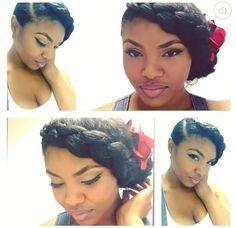 Natural Hair   UpDo   Braid   Natural Hairstyles   Protective Styles   Braid   Goddess Braid   PinUp   Makeup   IG: @Bleu_Majik
