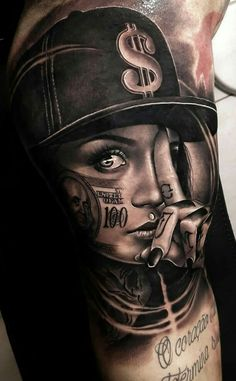 Hundred dolla bill life leg tattoos, body art tattoos, girl tattoos, dream tattoos G Tattoo, Tattoo Life, Money Tattoo, Sick Tattoo, Body Art Tattoos, Hand Tattoos, Gangster Tattoos, Chicano Tattoos Gangsters, Chicano Style Tattoo