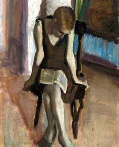 """""""Girl on a Chair"""" - Leonid Balaklav {figurative female painting woman reading book} Engrossed ! People Reading, Girl Reading Book, Reading Art, Woman Reading, Female Images, Female Art, Figure Painting, Painting & Drawing, Painting People"""