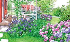 Schwedenhaus - Terrasse im Blütengewand