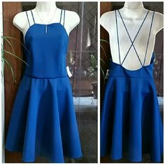 """NWT Stunning Blue Dress Size M New With Tag Super Cute Blue Dress from Charlotte Russe.  Double spaghetti straps. 36"""" Length from shoulder Strap to bottom,  28 """" Waist,  32"""" Bust. 89% Polyester / 8% MTLC/ 3% Spandex. Lining 100% Polyester. Charlotte Russe  Dresses Midi"""