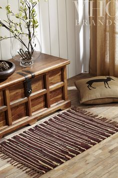 The Barrington Chindi Rag Rug & Stenciled Burlap Pillow from www.vhcbrands.com