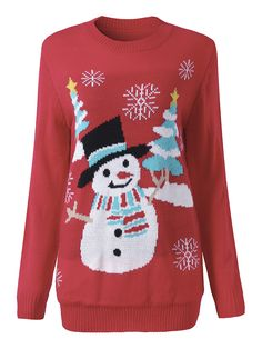 Sale 19% (37.99$) - Women Christmas Tree Snowman Printed Long Sleeve Knitted Pullover Sweater