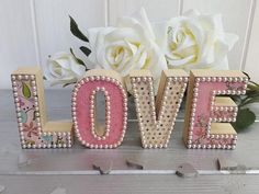 Small wood decoupage letters, Standing wood block LOVE sign, Handcrafted pine letters with pearl emb Wood Letters Decorated, Wooden Letters, 3d Letters, Decoupage Letters, Decoupage Wood, Wood Letter Crafts, Scrapbook Designs, Lovely Shop, Alphabet And Numbers