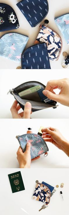 This Dailylike Coin Pouch will change how you carry your money! No more lugging around a big wallet just to run errands. It's light & has unique fan shape so you can carry more than just your loose change. There's a card slot inside where you can put your ID card, credit cards, & bus pass. Wrap your bills around it to keep their shape & stay organized! You can also fit other items like lip balm & earbuds too. Pick from 4 lovely styles & slip this cute pouch on your keys, then you're ready… Diy Wallet No Sew, Diy Wallet Pouch, Diy Pouches, Coin Wallet, Key Pouch, Coin Bag, Zipper Pouch, Cute Coin Purse, Diy Coin Purse No Sew