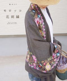 mori - モロッコ花刺繍。大判ストール:cawaii - embroidered wrap
