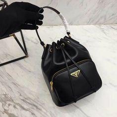 375e8d92bafd Details about AUTHENTIC PRADA ChainShoulder Bag Shoulder Bag Black Leather