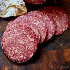 Homemade Milano Salami - Stanley Marianski's recipe for Milano salami, which is essentially the same as Genoa salami. If you are learning how to make salami, this is a good recipe to try. Homemade Salami Recipe, Homemade Sausage Recipes, Meat Recipes, Yummy Recipes, How To Make Salami, How To Make Sausage, Sausage Making, Sausages