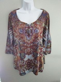 Live and Let Live- 3/4 Sleeve - Multi-Color Boho Top - Women's 1X in Clothing, Shoes & Accessories, Women's Clothing, Tops & Blouses | eBay